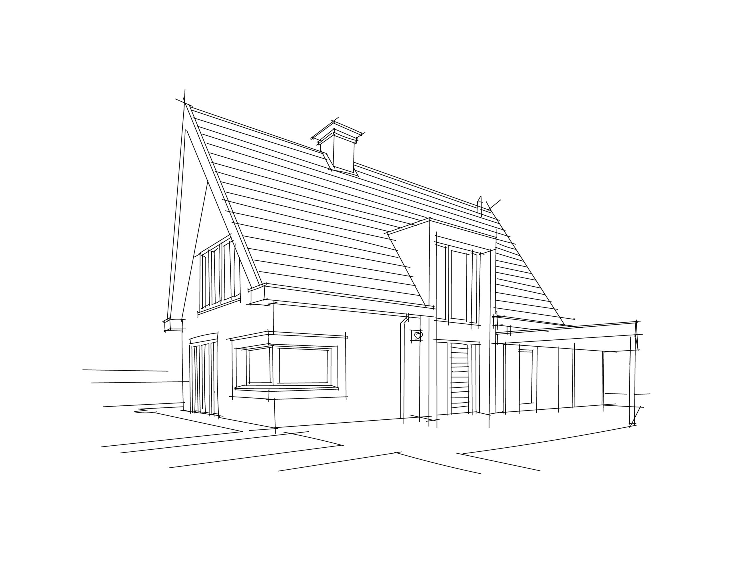 Architectural Drawing of a privat european house. Vector.