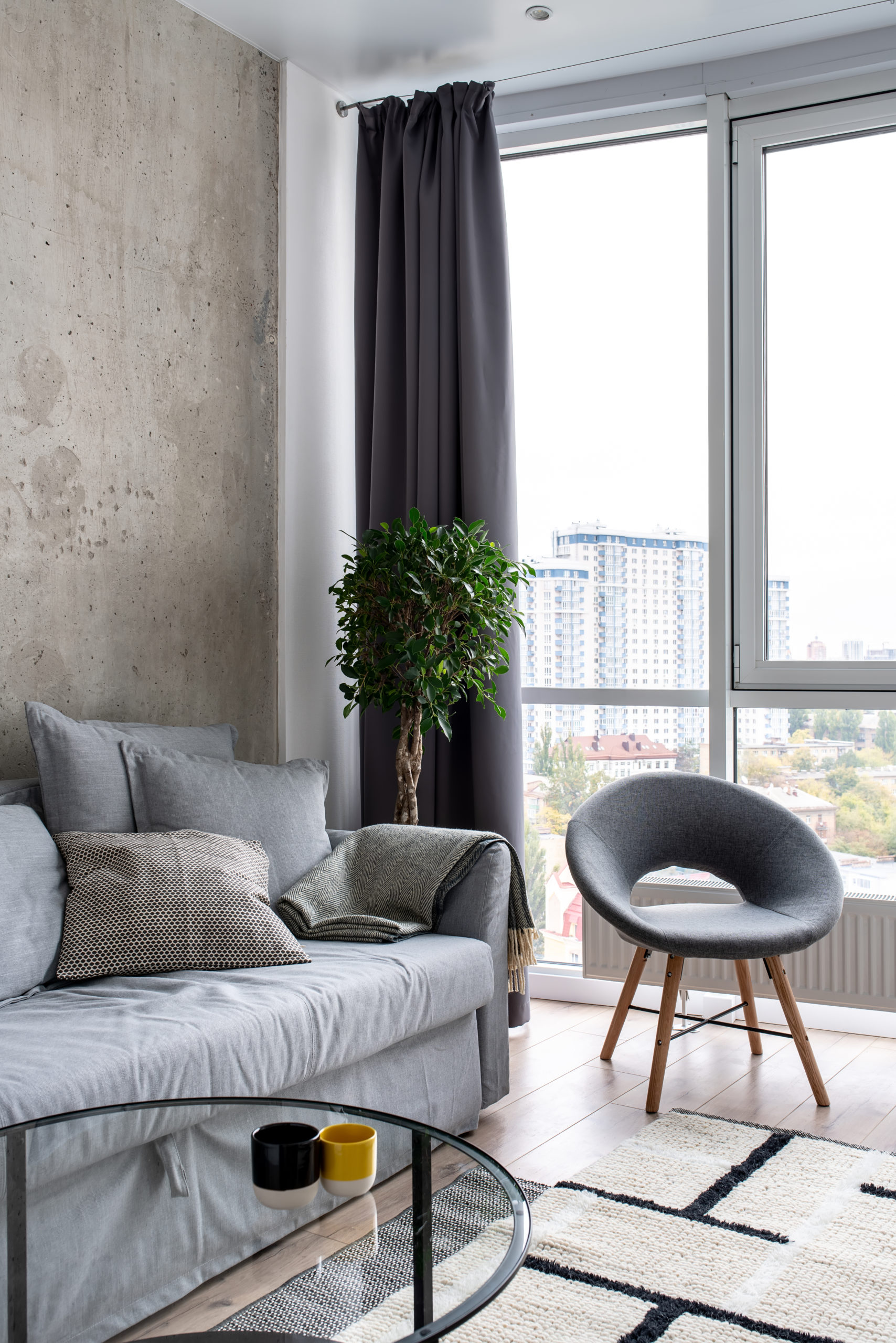 Great interior in modern style with concrete and white walls