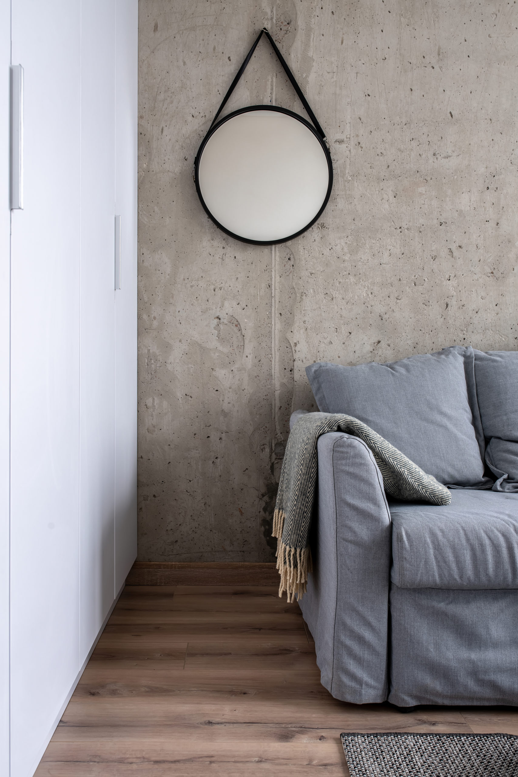 Great interior in modern style with concrete wall