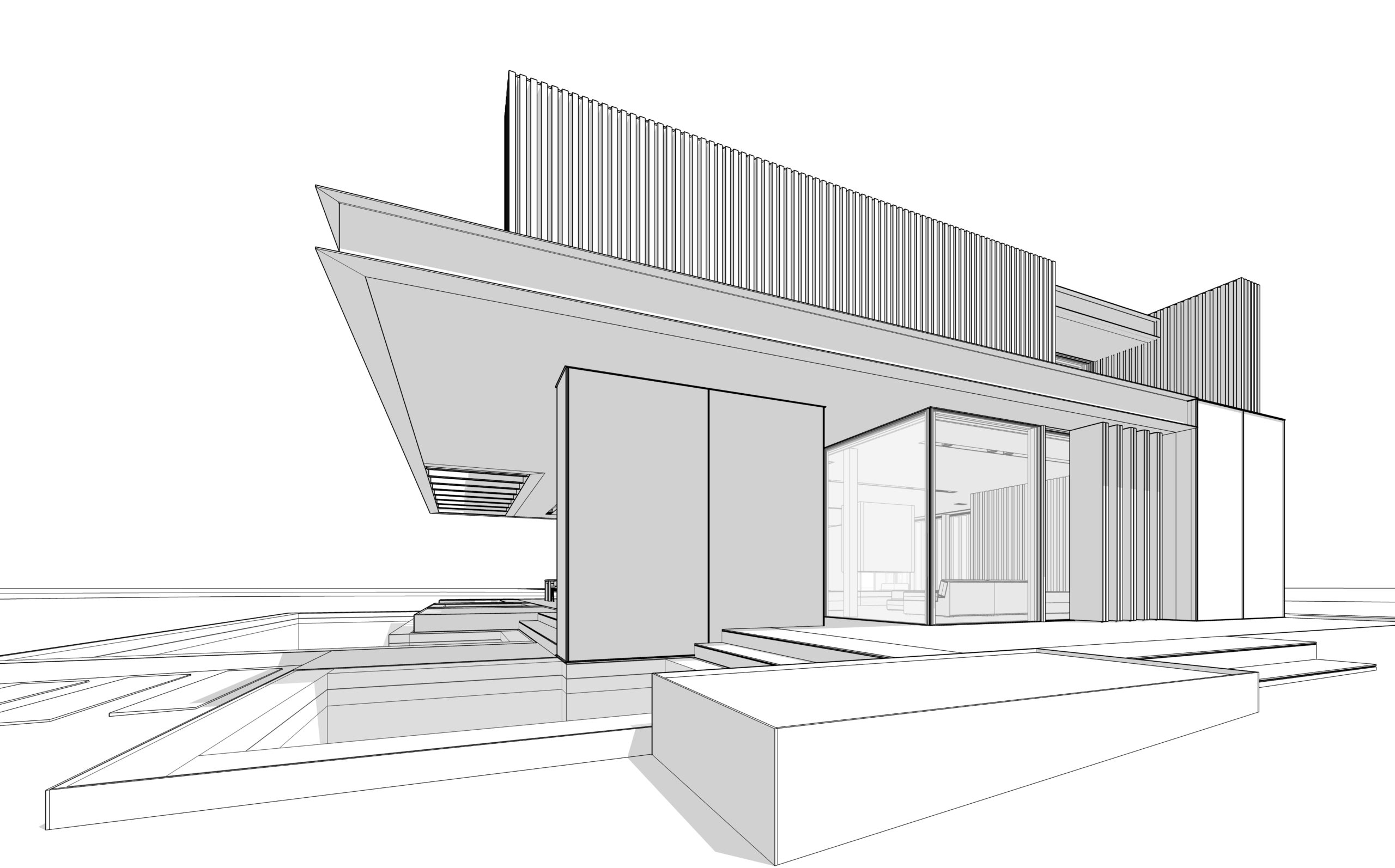 3d rendering of modern cozy house with parking and pool for sale or rent with wood plank facade.  Black line sketch with soft light shadows on white background.